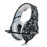 Neu Gaming Kopfhörer PS4 Headset Camouflage, K1-B 3,5mm Stereo mit Mikrofon Stumm In-line (Clip) Lautstärkeregler für Sony Playstation 4 Xbox One PC Mac iPad Tablet Smartphone