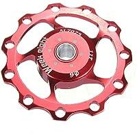 Rueda de guia de bicicleta - week eight polea de cambio trasero de rueda de guia de 11 dientes de bicicleta de montana de aluminio para jinete para SHIMANO SRAM rojo