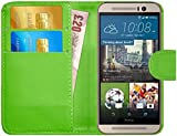 GizzmoHeaven HTC One M9 Leder Hülle Schutzhülle Tasche mit Karte Halter Klappetui Flip Case Cover Etui Brieftasche für HTC M9 mit Schutzfolie und Stylus Stift - Grün