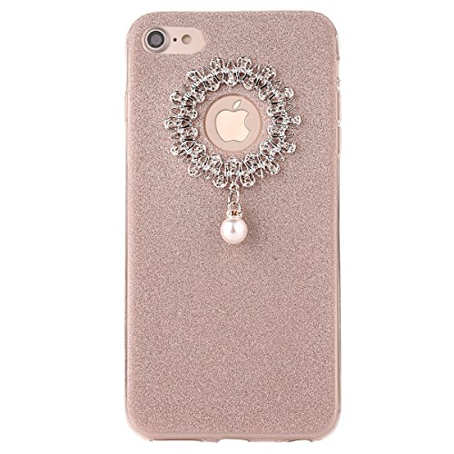 Clear Crystal Rubber Protettivo Case Skin per Apple iPhone 7 4.7, CLTPY Moda Brillantini Glitter Sparkle Lustro Progettare Protezione Ultra Sottile Leggero Cover per iPhone 7 + 1x Stilo - Silver Oro 1