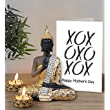 TiedRibbons Mothers Day Gift From Daughter Best Gift For Mom Golden Buddha Idol With Tea Light Candles And Mothers Day Special Greeting Card