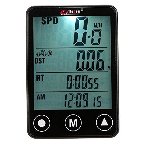 searon Hintergrundbeleuchtung Wireless Bike Radfahren Computer für Tracking Reiten Geschwindigkeit und Distanz mit Touch Tasten Wasserdicht (Fahrrad Computer Cateye)