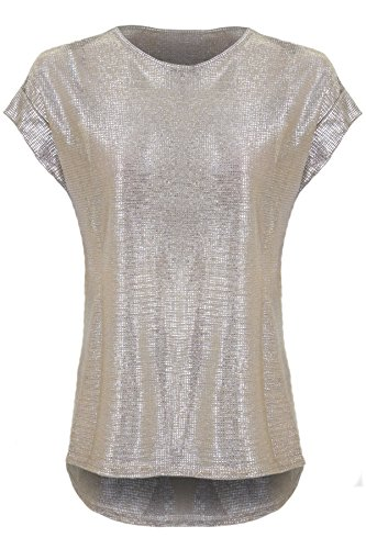 ladies-shiny-metallic-turn-up-sleeve-high-low-thin-stretch-baggy-top-t-shirt-gold-s-m