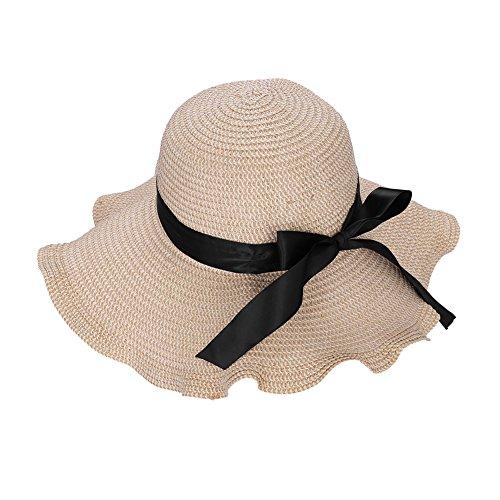 QCHOMEE Damen Bohemia Gewellter Rand Strohhut Breite Krempe Shading Summer Beach Sun Hat, Damen, Beige, Einheitsgröße (Damen-band-hats)