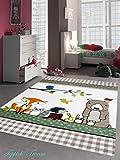 Kinderteppich Spielteppich Kinderzimmer Teppich niedliche bunte Tiere mit Bär Fuchs
