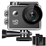 Bestsmile 170° Wide Angle Lens Full HD 2 Inch LCD 98Ft Waterproof Screen Action Camera With 2 Rechargeable Batteries and All Necessary Accessories Kit