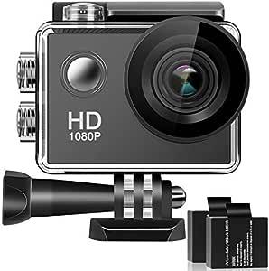 Caméra Sport Full HD Appareil Photo Caméscope Étanche 30M 170 °Grand-Angle avec 2 Pouces LCD 2 Batteries Rechargeables et 16 Accessoires