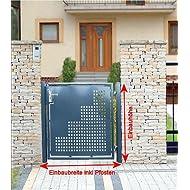 Gartentor Pforte Pulver Grau Hoftor Einfahrtstor Tür Tor Törchen 100cm x 125cm