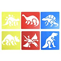 M-HUA 6Pcs Plastic Dinosaur Picture Drawing Template Stencils Rulers Painting Kids DIY