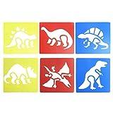 Qiuxiaoaa 6 piezas de plástico dinosaurio pintura tablero de copia plantilla de dibujo plantillas gobernantes pintura niños diy materiales hechos a mano juguetes educativos para niños de color al azar
