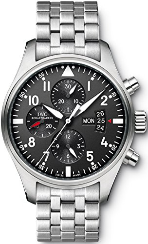 IWC Men's 42mm Steel Bracelet & Case S. Sapphire Automatic Black Dial Chronograph Watch IW377704