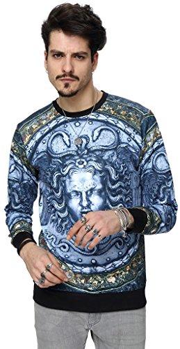 Pizoff Unisex Hip Hop Sweatshirts mit 3D Digital Print 3D Muster Helios Medusa Skulptur der italienischen Renaissance (Cape Renaissance)