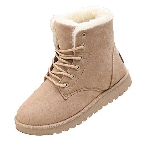 Hibote Pelliccia Allineato Inverno Caloroso Neve Inverno Piatto Stivaletti Boots Scarpe da Donna