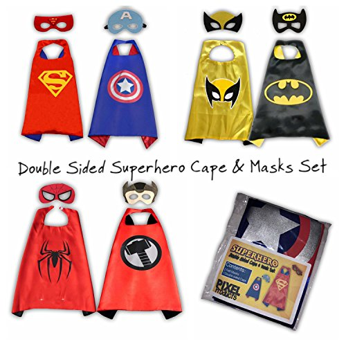 SUPERHELO Kostüm - Doppelseitiges Cape und Maske Set - 1 Cape ... 2 Superhelden !! (Batman / Wolverine Cape & Masken) (Komplettset - 3 Umhänge und 6 Masken) (Kind Wolverine Kostüme)