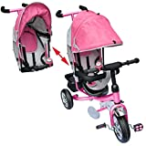 M&G Techno Kinder Dreirad Kinderfahrrad Dach Fahrrad Kinderdreirad ab 2 Jahre Kinderfahrzeug - Lenkstange Servolenkung Schaumgummi (Pink)