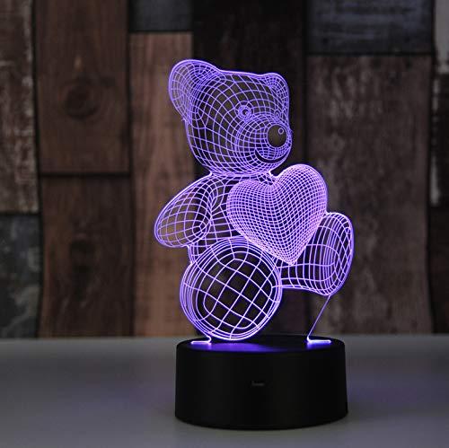 Teddybär kinder tischlampe farbwechsel nachtlicht dekorative beleuchtung neue jahr geschenke 3d illusion -