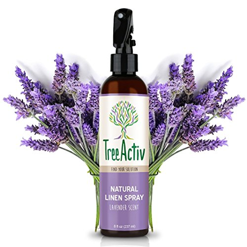 TreeActiv Natural Linen Spray | Kills Acne Causing Bacteria | Eliminates Odors | Fabric, Bedding, Clothing, Carpet & Furniture Refresher | (8 fl oz) (Lavender)