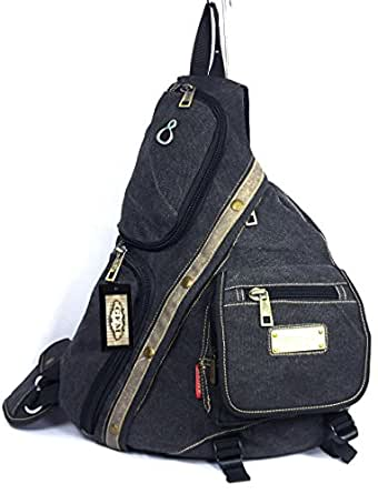 GFM Multi Pocket Canvas Monostrap Sling Backpack (SE-1701-KL) Multi Purpose School, Sports , Travel , Gym , Cycling , Biking etc (SE-1701-KL)