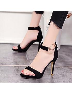 KPHY-Sexy fina y vida nocturna de la dulce Zapatos impermeables Anillo Dew-Foot Metal Clip Zip con zapatos que...