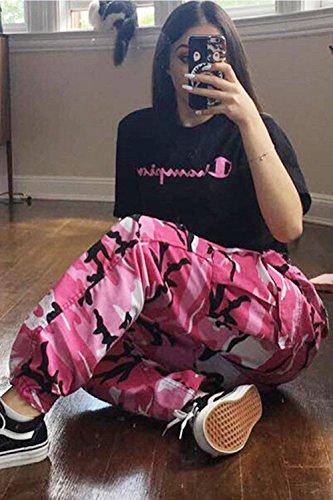 Le Donne Una Mimetizzazione Pantaloni Cargo Sport Normali Pantaloni Lunghi Pantaloncini Pink