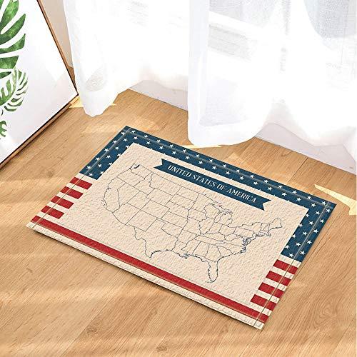 EdCott Reise-Badteppiche Vereinigte Staaten von Amerika Karte Stars and Stripes Innen-Türmatte Kids Bath Mat 15.7x23.6in Bad-Accessoires
