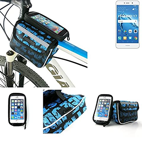 Bike frame bag Front Top Tube Pannier for Huawei Y7 Dual SIM, Head Tube cycling triple case Bicycle mount cradle Mobile Phone Holder, blue, water resistant -