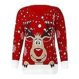 Dorical Weihnachtspullover Damen Winter Warm Rentier Pullover Kuschelpullover Lustige Hochwertige Schicke Witzige Elch Sweater Günstige kaufen Online Sale