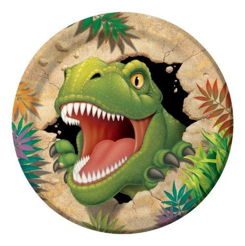 8-teiliges Teller-Set * DINOSAURIER * für Kindergeburtstag // Kinder Geburtstag Party Dino T-Rex Dinos Saurier Pappteller Partyteller
