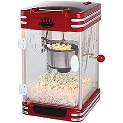 XXL Machine à Popcorn Popcorn Maker Popcorn Machine Rétro Casserole en acier inoxydable (Cuillère Doseuse pieds antidérapants, Cinéma,, rouge noir)