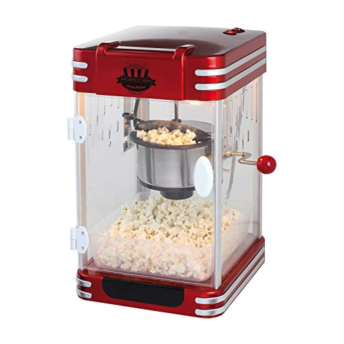 XXL Máquina de palomitas popcorn maker palomitas automática olla de acero (Cuchara dosificadora, pies antideslizantes, Cine, Retro Rojo Negro)