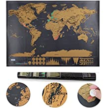 Llean World scratch scratch Map Deluxe XXL poster – Memories of Old Travel per ogni globetrotter (Black, 82 x 60 cm)