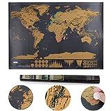Llean Monde carte à gratter Carte à gratter Deluxe XXL Poster–souvenirs de vieux de voyage pour chaque Globetrotter (Noir, 82x 60cm)