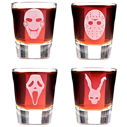 Scary Movie Mask Shot Glasses; Featuring Jigsaw, Jason, Scream and Frank the Rabbit. Inspired By Cult Classic Horror Stories. by Alder House Market ()