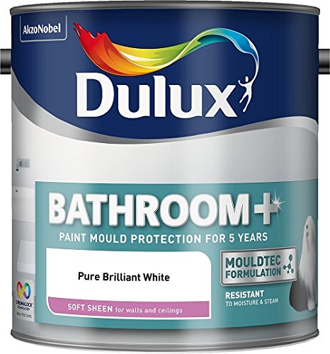 Dulux Badezimmer-Wandfarbe Plus, Glanzfarbe, 2,5l, apfelweiß, weiß, 500001