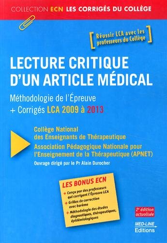 Lecture critique d'un article mdical : Mthodologie de l'preuve + corrigs LCA 2009  2013