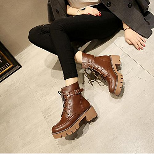 HAIZHEN  Stivaletto Scarpe da donna PU Winter Comfort Boots Tacco a tacco Round Toe per Casua Beige Nero Marrone 1.97in 5cm Per 18-40 anni ( Colore : Marrone , dimensioni : EU36/UK3.5/CN35 ) Marrone