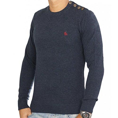 JACK & JONES Herren Pullover 12058171 Button O-Neck Navy