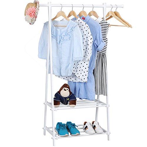 Kinder Kleiderständer (Songmics Kleiderständer Garderobenständer mit 2 Ablagen, Höhe 150 cm / Metall / Weiß LLR12W)