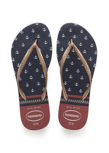 Havaianas Damen Slim Nautical Zehentrenner, Blau (Navy/Red), 41/42 EU