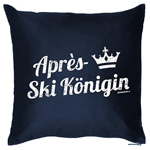 Deko/Fun-Kissen mit Füllung u. Aufdruck lustige Wintersport - Sprüche: Apres-Ski Königin