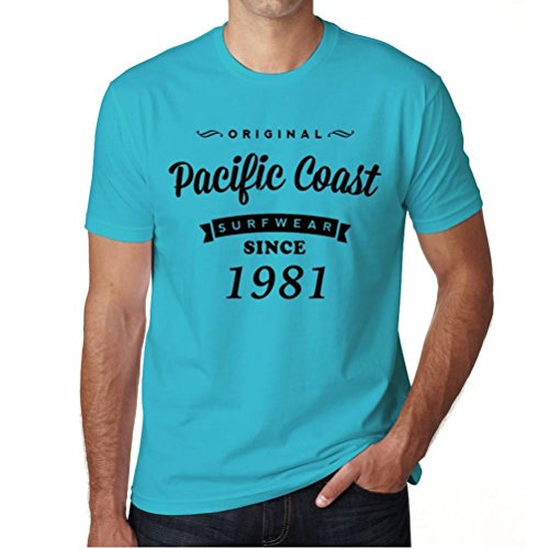 1981, Pacific Coast, pazifikküste tshirt, surf ausrüstung tshirt herren, geschenk tshirt Blau