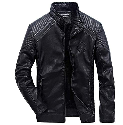 lederjacke Männer LederLederjacke Pu Stehkragen Nner Mantel Motorradjacke Formal Lederjacken Pu Leder Trenchcoat Jacket (Color : Schwarz, Size : 4XL) ()