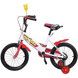 Ridgeyard 16 pulgadas Bicicleta Infantil Estudio aprendizaje montar a caballo bicicleta niños niñas bicicleta con ruedines por 3-5 años?rojo?