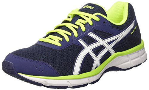Asics Gel-Galaxy 9, Scarpe da Ginnastica Uomo, Blu (Indigo Blue/White/Safety Yellow), 42.5 EU