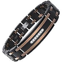 COOLMAN Herren Armband Edelstahl Armband Verstellbar Armband 19,8-22,3 cm Kubik-Zirconia Eingelegt