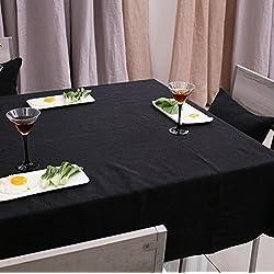 Rightvp Mantel de Mesa Hecha de Poliéster 100% Resistante al Aceite y Temperatura Alta de Color Negro Liso
