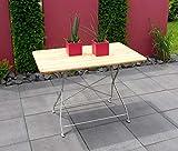 lifestyle4living Klapptisch, Gartentisch, Gartenklapptisch, Terrassentisch, Balkontisch, rechteckig, klappbar, Robinienholz, Stahlgestell, verzinkt