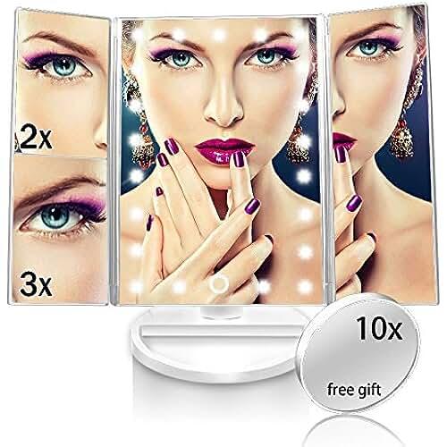 ofertas para el dia de la madre Espejo de Maquillaje de Tres Pliegues Ajustable 180° con 21 luces LED Maquillaje 1X / 2X / 3X perfecto Regalo para Mujeres