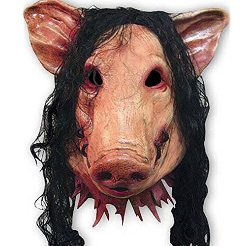 Macxy - 1PC Saw Pig Kopf Scary Masken Neuheit Halloween-Maske mit Dem Haar Halloween-Maske Caveira Cosplay Latex Festival Supplies (Kopf Vollen Halloween-masken Uk)