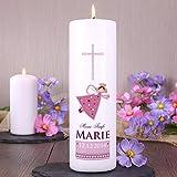 Striefchen® Taufkerze rosa für Mädchen mit Schutzengel inkl. Gratis Beschriftung 25x8 cm -